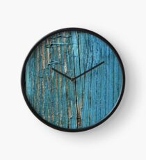 Rustic wood effect shabby print in turquoise Clock