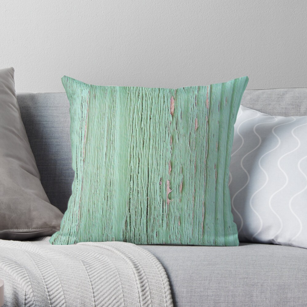 Rustic weathered wood mint shabby texture Throw Pillow