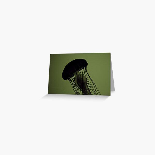 Jellyfish on Green Greeting Card