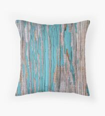Shabby rustic weathered wood turquoise Throw Pillow