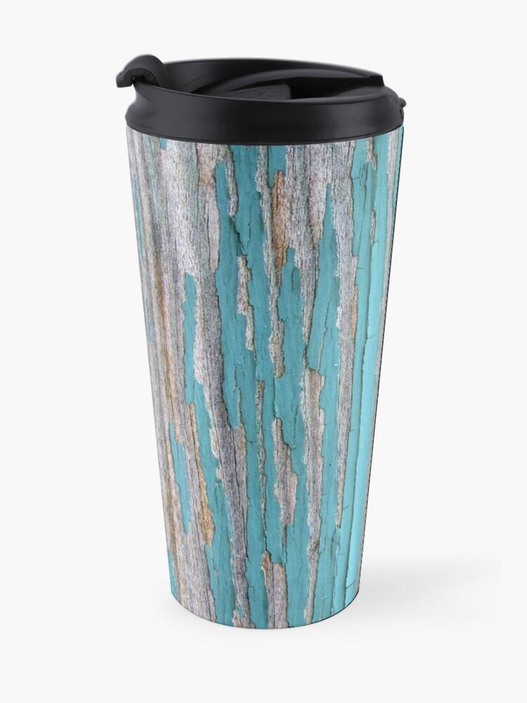 Alternate view of Shabby rustic weathered wood turquoise Travel Mug