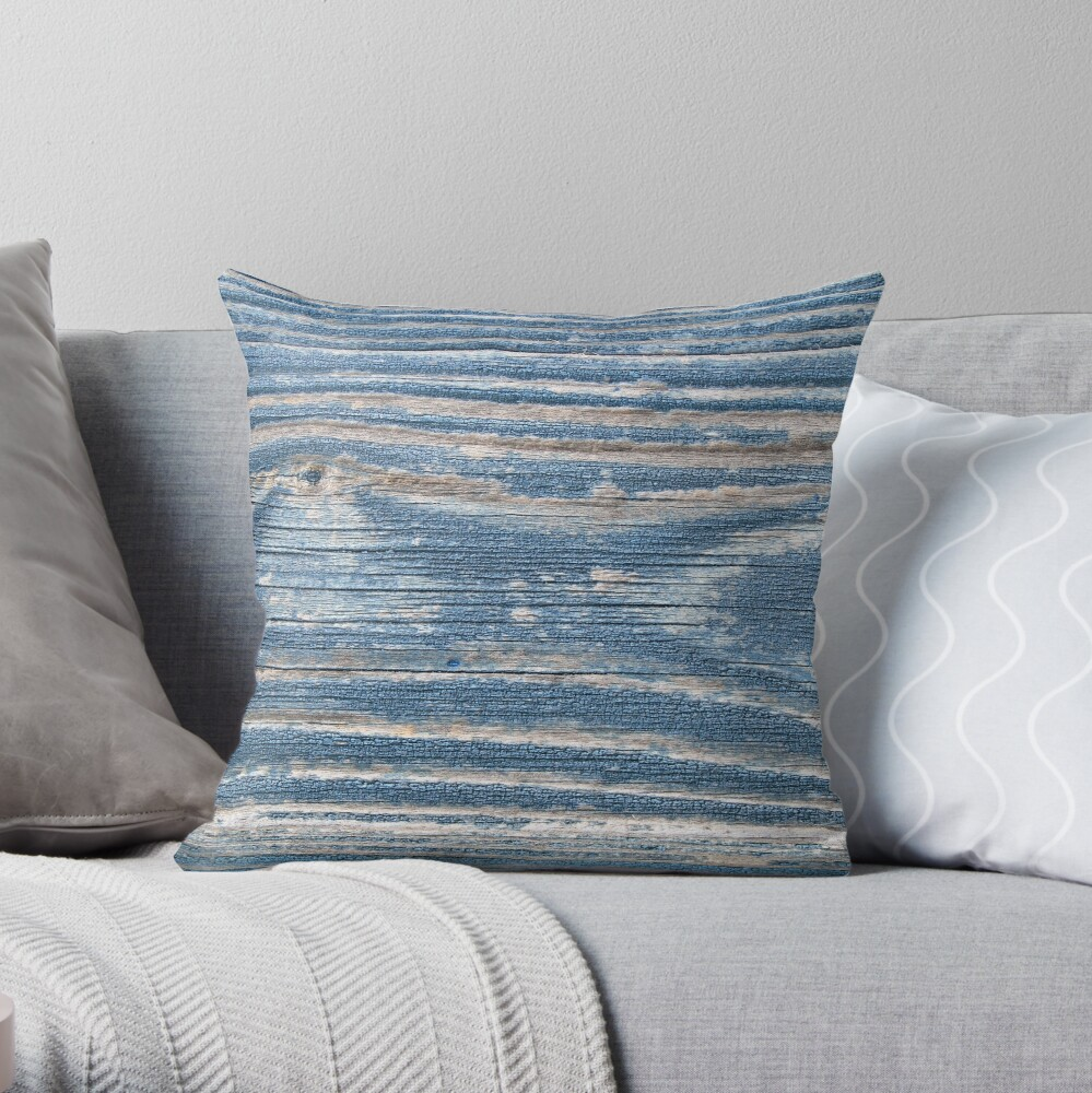 Rustic weathered wood in blue Throw Pillow