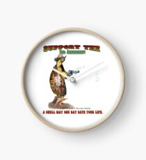 Support the 2nd Amendment Cowboy Turtle Clock