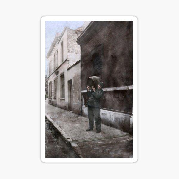 Gefreiter Johann Schür carrying a barrel, Eastern Front, 1941. Sticker