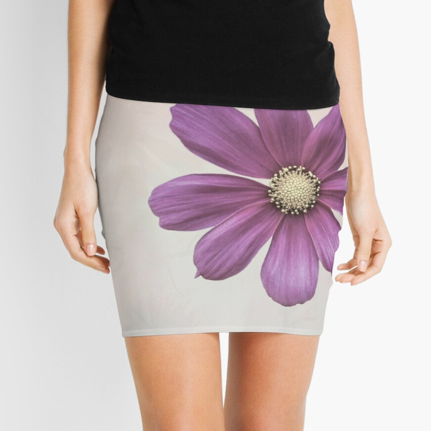 Purple Cosmos Flower Mini Skirt
