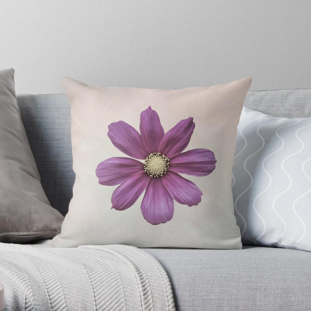 Purple Cosmos Flower Throw Pillow
