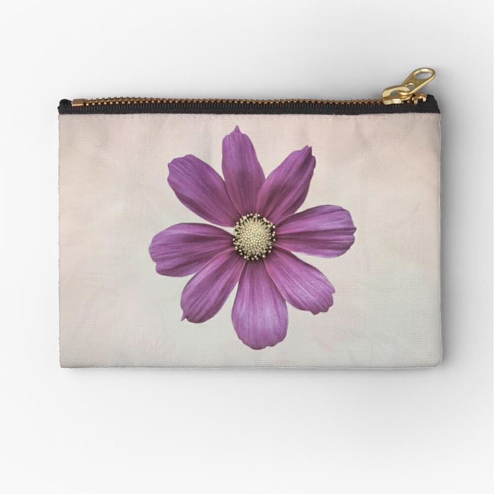Purple Cosmos Flower Zipper Pouch
