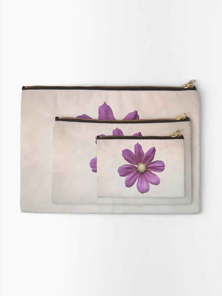 Alternate view of Purple Cosmos Flower Zipper Pouch