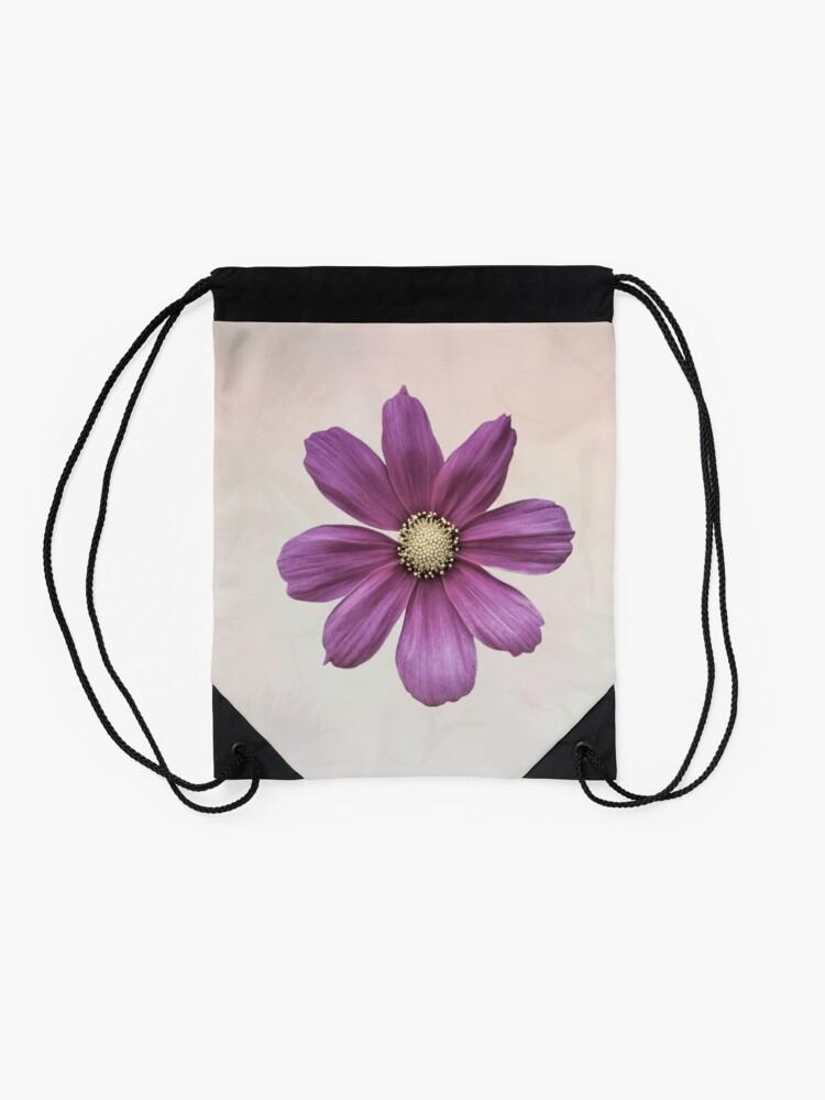 Alternate view of Purple Cosmos Flower Drawstring Bag