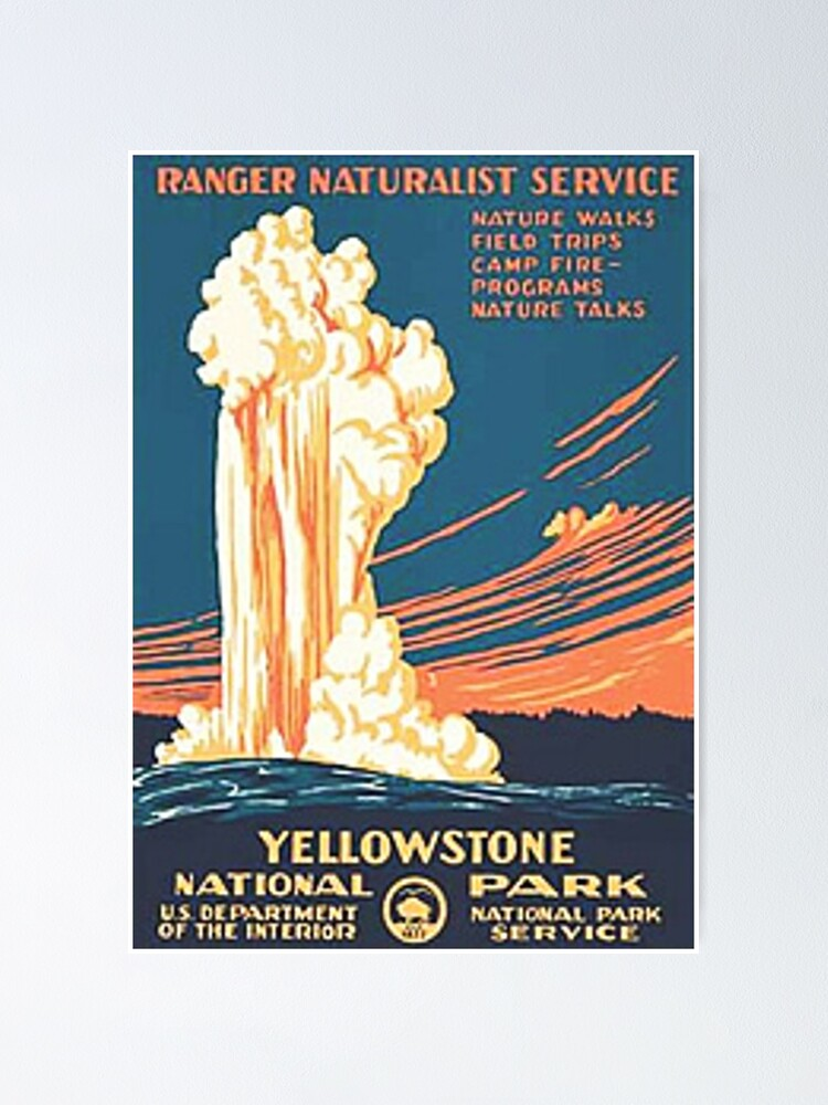 Yellowstone National Park Vintage Poster By Jimmywatt Redbubble