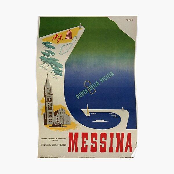 Messina port of Sicily vintage Italian travel ad Poster