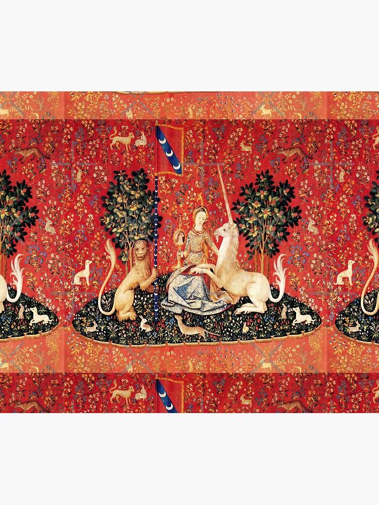 LADY AND UNICORN ,SIGHT  Red Green Fantasy Flowers,Animals by BulganLumini