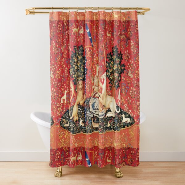 LADY AND UNICORN ,SIGHT  Red Green Fantasy Flowers,Animals Shower Curtain