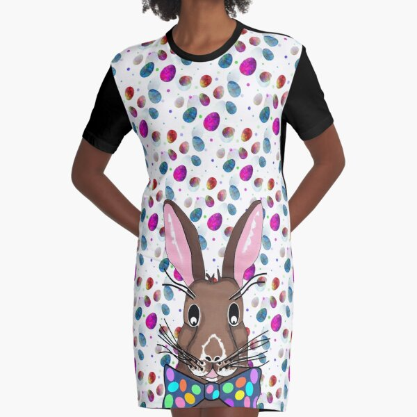 Easter Bunny Easter Eggs Graphic T-Shirt Dress