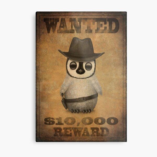 Cute Baby Penguin Cowboy Vintage Wanted Poster Metal Print