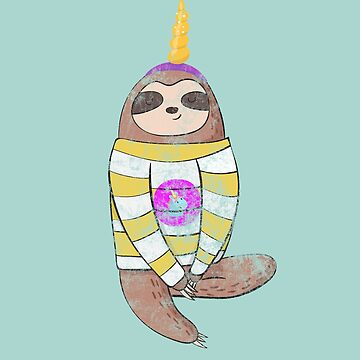 Hipster Unicorn Loving Sloth T-shirt by Farfam