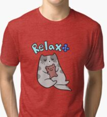 Relax Cat and Teddy Tri-blend T-Shirt