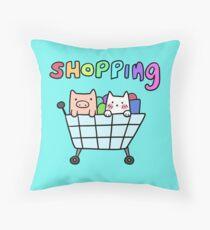 Cat and Pig Shopping Cart Throw Pillow