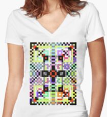 crazy pattern Women's Fitted V-Neck T-Shirt