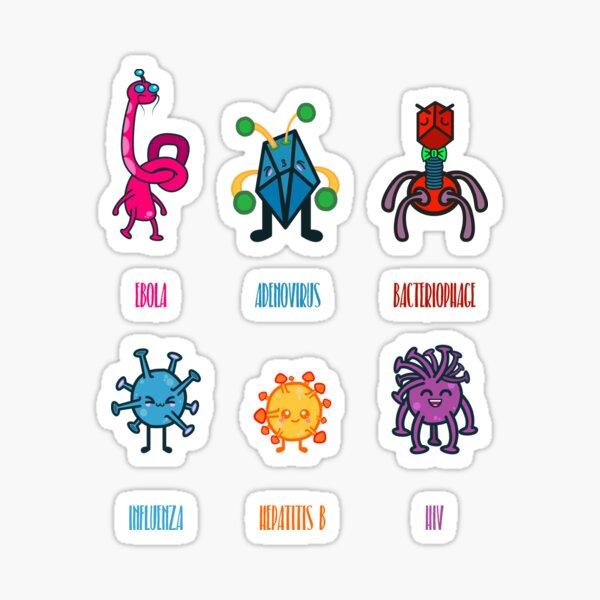 Equipo lindo de virus para virólogos Pegatina