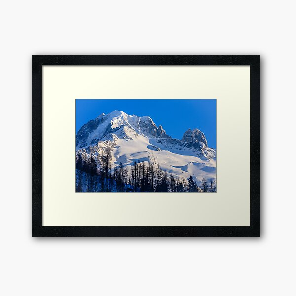 The Grand Montets ski resort in Argentiere at sunset Framed Art Print