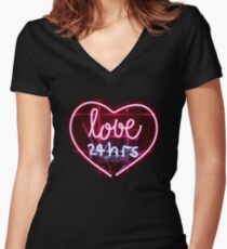 "Neon streetlight bar urban ""love 24hrs""  Women's Fitted V-Neck T-Shirt"