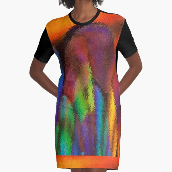 Rainbow Waves by Cecile Grace Charles Graphic T-Shirt Dress