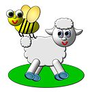 3-D Look Lamb with a Bee by Artist4God