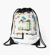 Carrie Bradshaws apartment as a Poster (TV version) Drawstring Bag