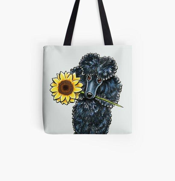 Sunny Black Miniature Poodle All Over Print Tote Bag