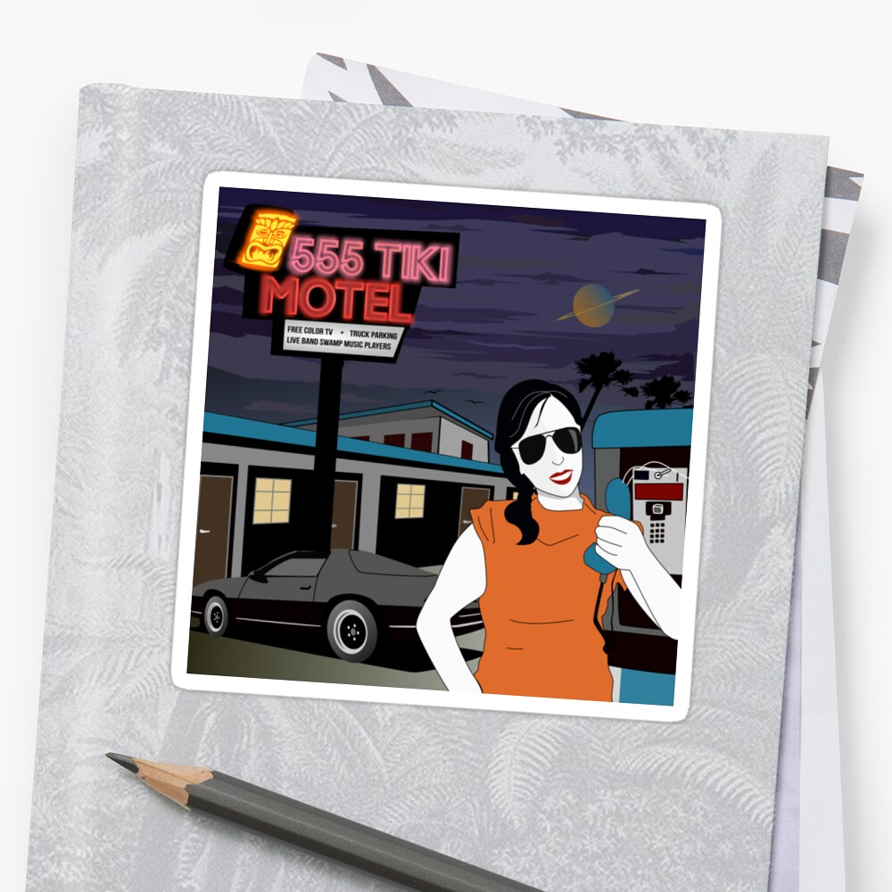 Swamp Music Players, 555 Tiki Motel payphones and Los Angeles motels, the terminator Sticker