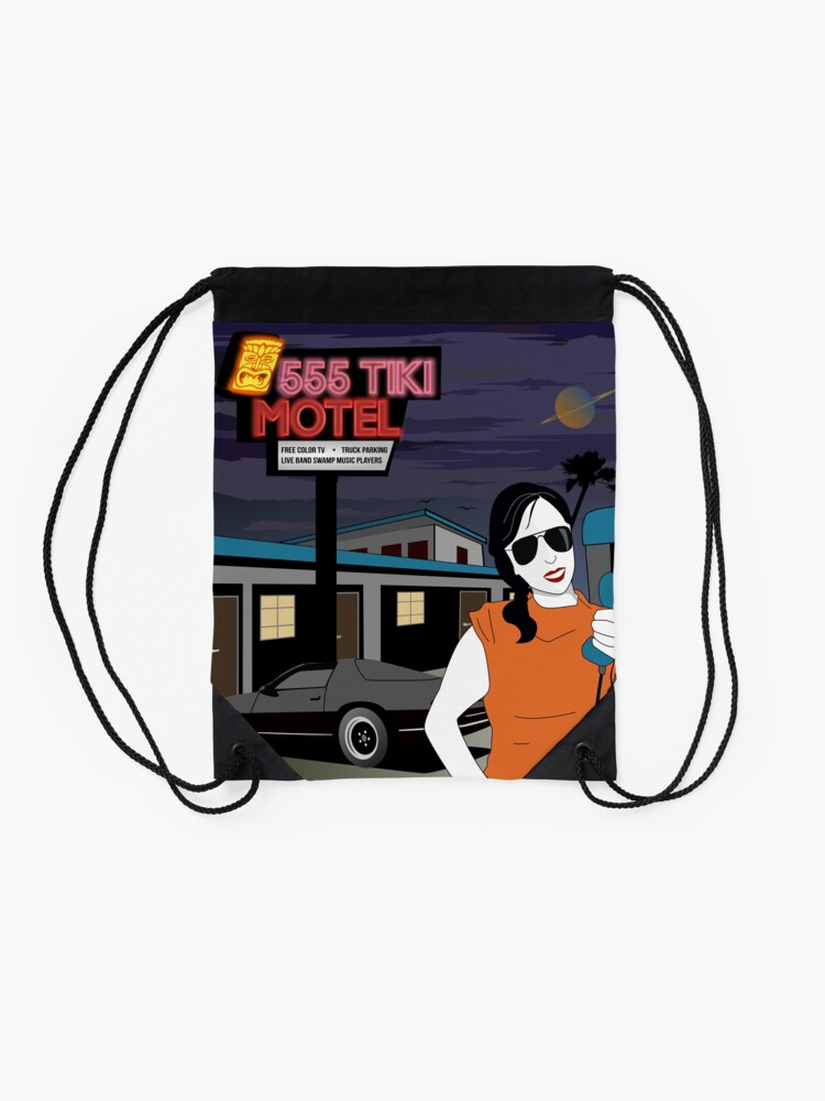 Alternate view of Swamp Music Players, 555 Tiki Motel payphones and Los Angeles motels, the terminator Drawstring Bag