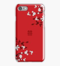 White Oriental Cherry Blossoms on Red and Chinese Wedding Double Happiness | Japanese Sakura  iPhone Case/Skin