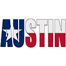 Austin TX Text with Lone Star Flag Underlay by VisualIdeas