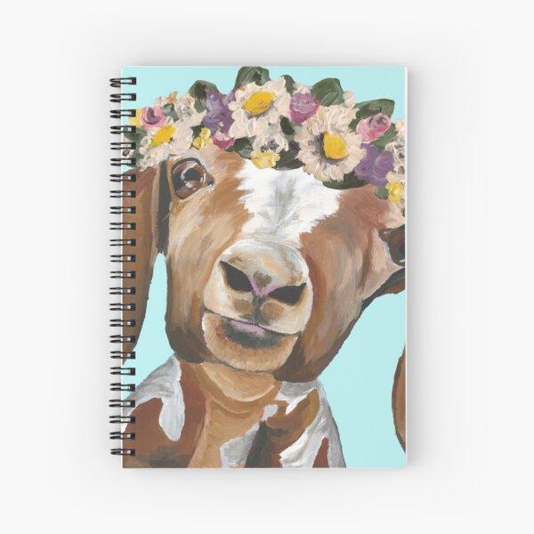 Goat Farmhouse Art, Goat Flower Crown Spiral Notebook