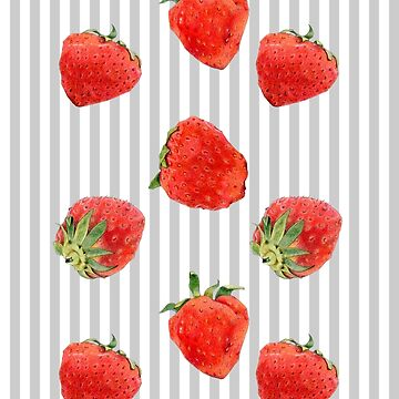 Strawberries on Stripes grey by mrana