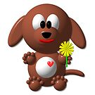 Cute 3-D Look Dog with Dandelion by Artist4God