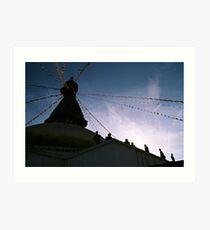 sunset. bouddhanath stupa, nepal Art Print
