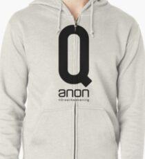 Qanon - Great Awakening - Follow The White Rabbit Zipped Hoodie