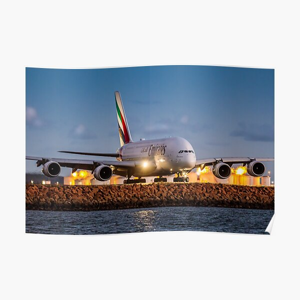 Emirates Airbus A380 Lands at Sunset, Sydney Airport Australia - Plane + Travel + Tourist = Holiday Poster
