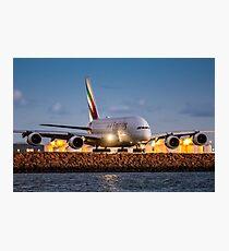 Emirates Airbus A380 Lands at Sunset, Sydney Airport Australia - Plane + Travel + Tourist = Holiday Photographic Print