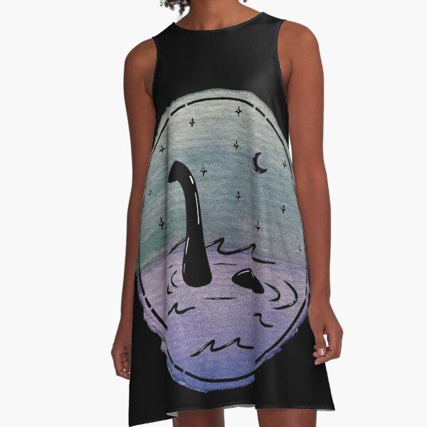 Loch Ness Watercolor A-Line Dress