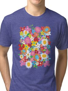 Colorful Whimsical Spring Flowers Garden Tri-blend T-Shirt