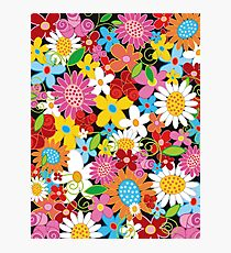 Colorful Whimsical Spring Flowers Garden Photographic Print