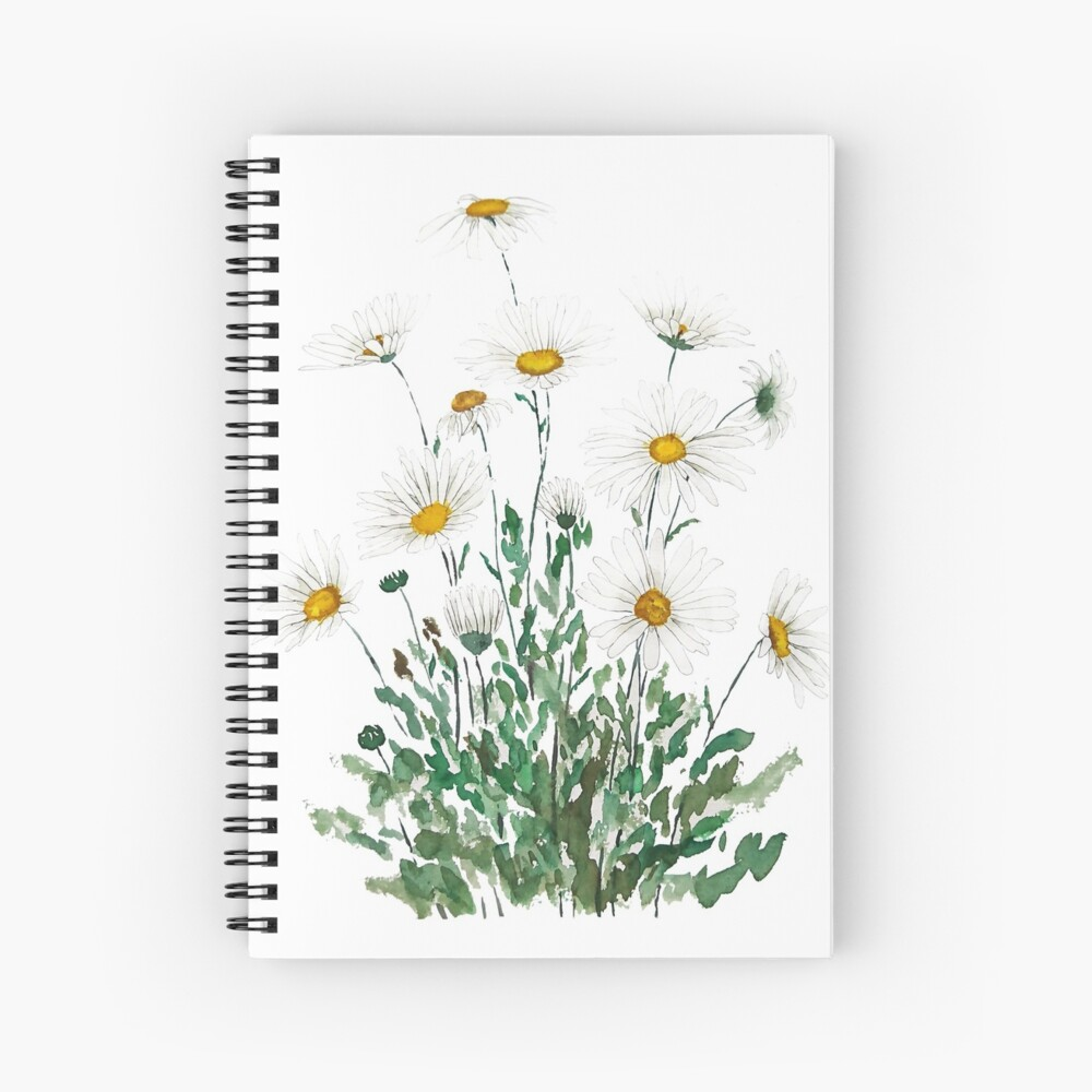 white Margaret daisy watercolor  Spiral Notebook