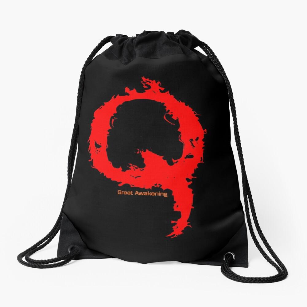 Qanon - Great Awakening - Fire Drawstring Bag