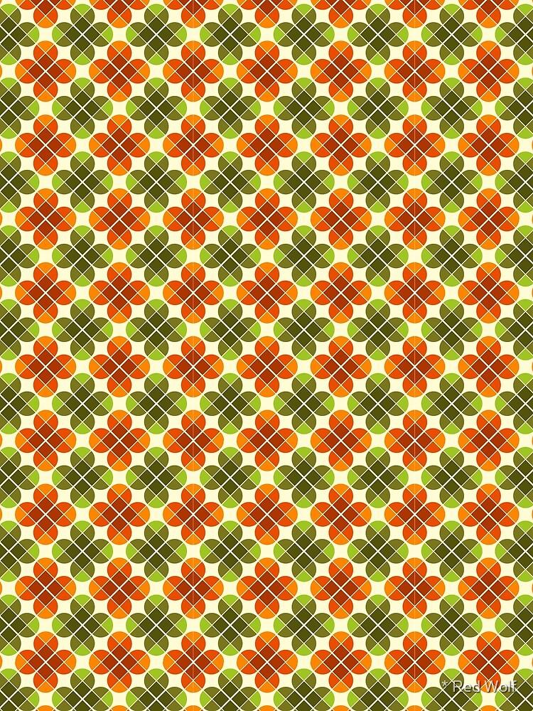 Geometric Pattern: Flower: Four Petal: Green/Orange by redwolfoz