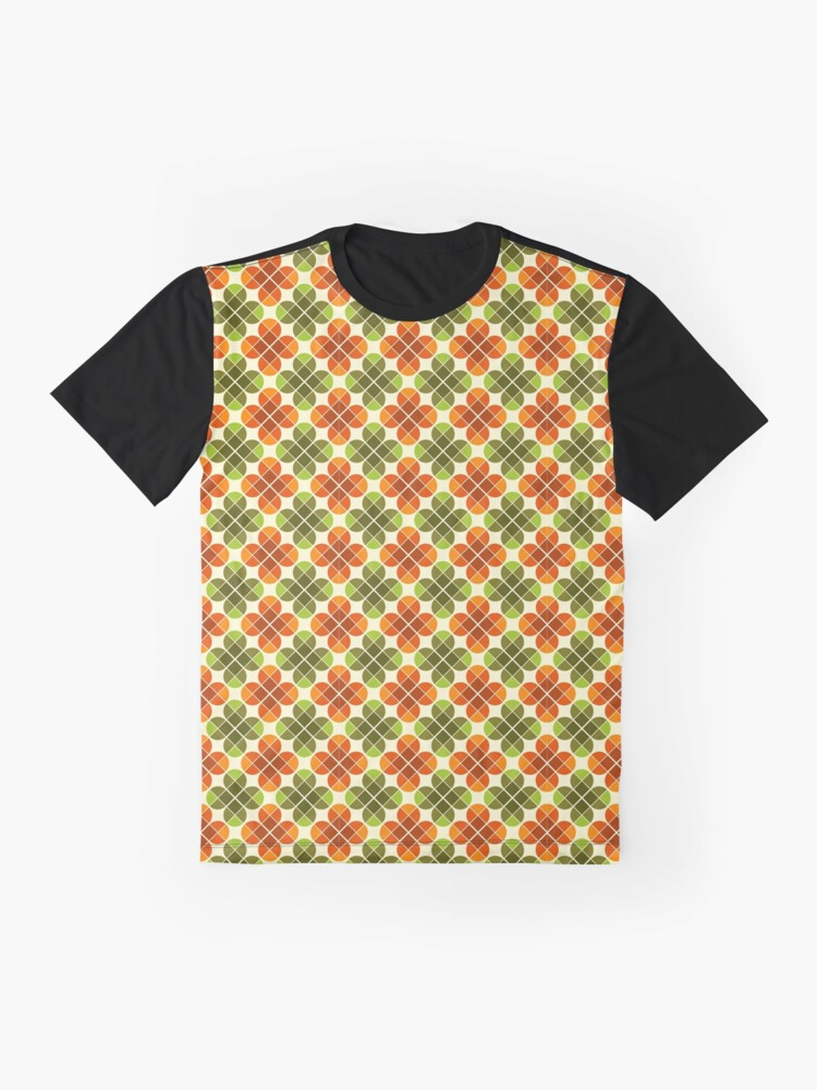 Alternate view of Geometric Pattern: Flower: Four Petal: Green/Orange Graphic T-Shirt