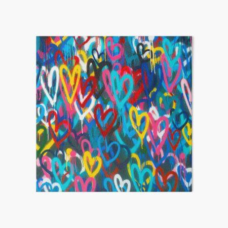 Graffiti Urban colorful graffiti city wall chaotic hearts pattern painting grunge rainbow love Art Board Print