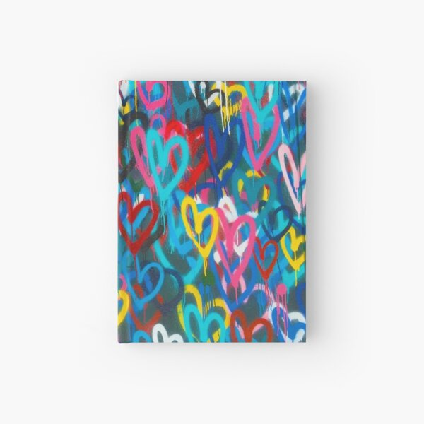 Graffiti Urban colorful graffiti city wall chaotic hearts pattern painting grunge rainbow love Hardcover Journal